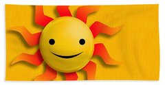 Beach Towel featuring the digital art Happy Sun Face by John Wills