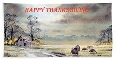 Happy Thanksgiving  Beach Sheet by Bill Holkham