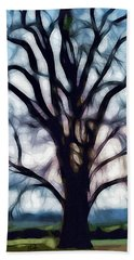 Beach Towel featuring the digital art Happy Valley Tree by Holly Ethan