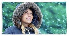 Happy Woman In Winter Park Beach Sheet