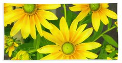 Happy Yellow Summer Cone Flowers In The Garden Beach Sheet