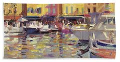 Harbor At Cassis Beach Towel