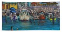 Harbor Boats Coastal Painting Of Southport North Carolina Beach Towel