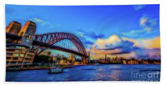 Beach Towel featuring the photograph Harbor Bridge by Perry Webster