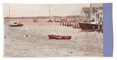Harbor Red Beach Towel by JAMART Photography