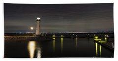 Harbor Rockwall Lighthouse Beach Towel