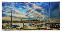 Harbor Scene Beach Towel