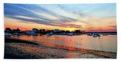 Harbor Sunset At Low Tide Beach Towel