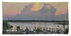 Harbor The Evening Beach Towel