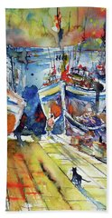 Harbor With Cats Beach Towel by Kovacs Anna Brigitta
