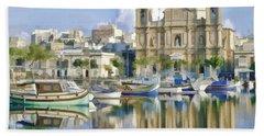 Harborside Msida Malta Beach Towel