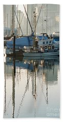 Harbour Fishboats Beach Towel