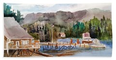 Harbour Scene Beach Towel by Larry Hamilton