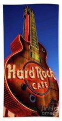 Hard Rock Hotel Guitar At Dawn Beach Towel by Aloha Art