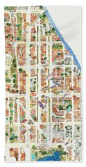 Harlem Map From 106-155th Streets Beach Towel