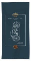 Beach Sheet featuring the digital art Harley-davidson 1924 Vintage Patent Blueprint With 3d Badge by Serge Averbukh