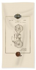 Beach Sheet featuring the digital art Harley-davidson 1924 Vintage Patent Document With 3d Badge by Serge Averbukh