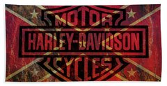 Harley Davidson Logo Confederate Flag Beach Towel