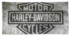 Harley Davidson Logo On Metal Beach Towel