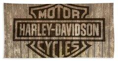 Harley Davidson Logo On Wood Beach Towel