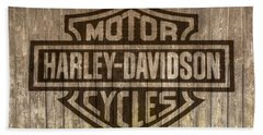 Harley Davidson Logo On Wood Beach Sheet