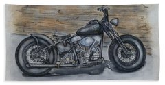 Harley-davidson Panhead 1950 Beach Towel