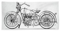 Beach Towel featuring the digital art Harley Davidson Patent by Taylan Apukovska