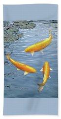 Beach Sheet featuring the photograph Harmony - Golden Koi by Gill Billington