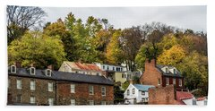Beach Towel featuring the photograph Harpers Ferry In Autumn by Ed Clark