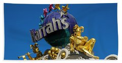 Harrah's Casino Sign On The Las Vegas Strip Beach Towel