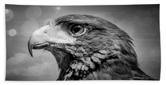 Harris Hawk  Black And White Beach Towel
