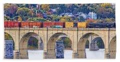 Harrisburg Trains Crossing Beach Towel