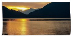 Harrison Lake, British Columbia Beach Sheet by Heather Vopni