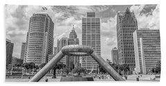 Hart Plaza In Detroit  Beach Towel