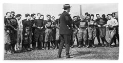 Harvard Football Practice Beach Towel by Underwood Archives