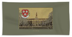 Harvard University Building Overlaid With 3d Coat Of Arms Beach Towel