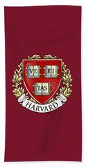 Harvard University Seal - Coat Of Arms Over Colours Beach Towel by Serge Averbukh