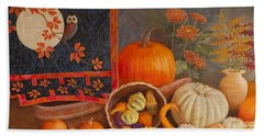 Beach Towel featuring the painting Harvest Bounty by Nancy Lee Moran