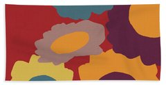 Harvest Flowers Red- Art By Linda Woods Beach Towel
