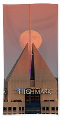 Beach Towel featuring the photograph Harvest Moon In Pittsburgh  by Emmanuel Panagiotakis