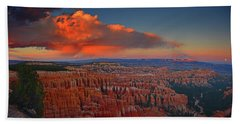 Harvest Moon Over Bryce National Park Beach Towel