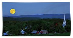 Harvest Moon Over Peacham Vermont Beach Towel