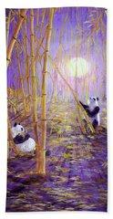 Harvest Moon Pandas  Beach Sheet by Laura Iverson