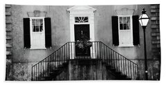 Haunting Surreal Black And White Charleston South Carolina French Quarter Architecture Windows Door Beach Towel