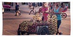 Beach Sheet featuring the photograph Havana Cuba Onion Cart by Joan Carroll