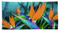 Hawaii Bird Of Paradise Flowers Beach Towel