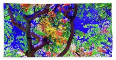 Beach Towel featuring the photograph Hawaii Shower Tree Flowers In Abstract by D Davila