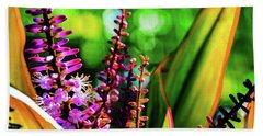 Hawaii Ti Leaf Plant And Flowers Beach Towel
