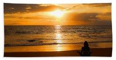 Beach Sheet featuring the photograph Hawaiian Beach Yoga by Michael Rucker