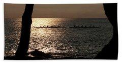 Hawaiian Dugout Canoe Race At Sunset Beach Towel